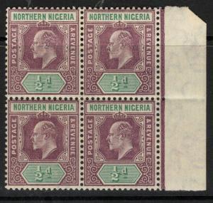 NORTHERN NIGERIA SG20 1905 ½d DULL PURPLE & GREEN MTD MINT BLOCK OF 4
