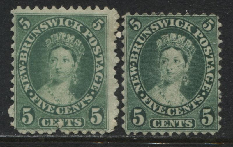 New Brunswick QV 1860 5 cents shades yellow and blue green unused no gum