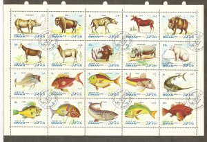 Oman Sheet of 20 Animal and Fish Stamps 1972 CTO PLEASE READ NOTE
