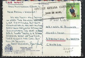 GUYANA (P2808B) 1971 10C BIRD SLOGAN CANCEL NEW AMSTERDAM ON PPC TO CANADA