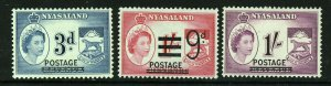 NYASALAND QE II 1953 Revenue Group Overprinted POSTAGE SG 191 193 & 194 MINT