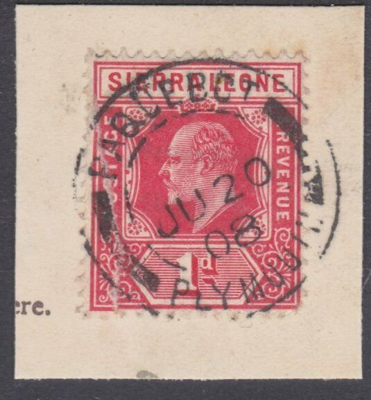 SIERRA LEONE 1908 EVII 1d on piece PAQUEBOT / PLYMOUTH cds.................29994