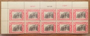#651 Plate Block of 10 stamps.  2c George Rogers Clark