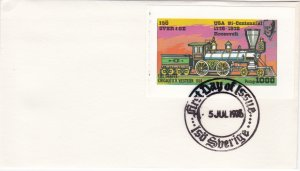Sverige, Locomotive Souvenir Sheet on First Day Cover.