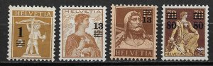 1915 Switzerland 186-9 complete Surcharged set of 4 MH