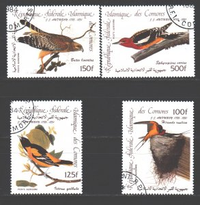 Comoro Islands. 1985. 726-29. Odabon, drawings, birds. USED.