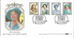 Queen Mother 90th Birthday 1990 Benham Official Silk First Day Cover U245