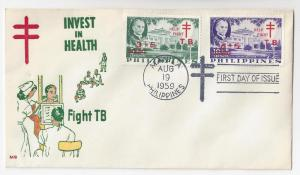Philippines 1959 FDC TB Tuberculosis Semipostal B12 B13 Ovpt