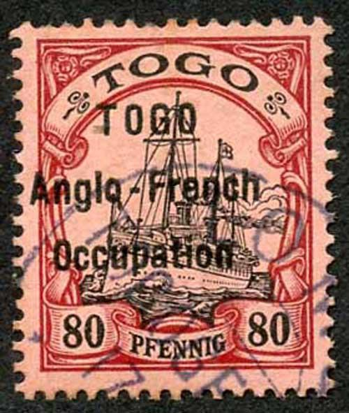 TOGO SGH9 80pf Black and Carmine on rose fine used Signed Bloch Scarce