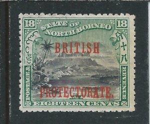 NORTH BORNEO 1901-05 18c BLACK & GREEN PERF 13½-14 COMP 12-13 MM SG 137b CAT £85