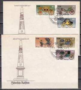 German Dem. Rep. Scott cat. 1741-1746. Historic Coaches. 2 First day covers.