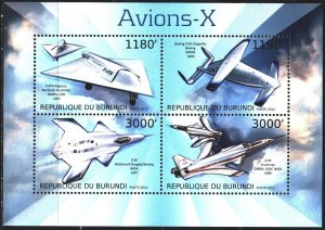 Burundi. 2012. Small sheet 2968-71. Aviation, aircraft. MNH.