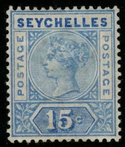 SEYCHELLES SG30a 1900 15c ULTRAMARINE WITH REPAIRED S MTD MINT