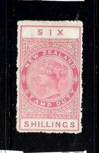 NEW ZEALAND  1882-27 6/-   QV  REVENUE  MLH   P14   SG F103  Sc AR57