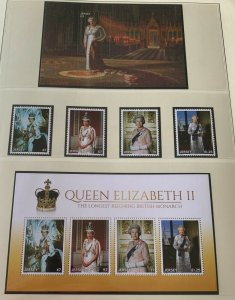JE36)Jersey 2015 QE II Longest Reigning British Monarch (4) + M/S + Sheetlet MUH