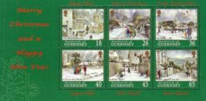 Guernsey Sc 725a 2000 Christmas stamp sheet mint NH