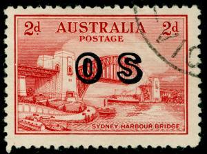 AUSTRALIA SGO134, 2d scarlet, FINE USED.