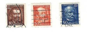 Switzerland, 216-18, St. Gotthard Tunnel Singles, Used