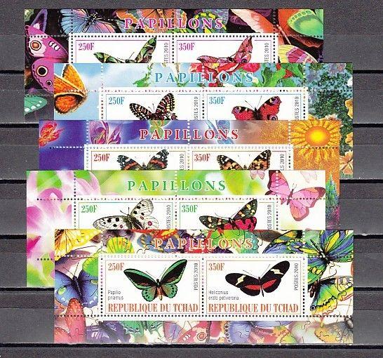 Chad, 2010 Cinderella issue. Butterflies on 5 s/sheets of 2.