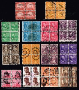 US STAMP USED BLK OF 4 STAMP COLLECTION LOT #W1