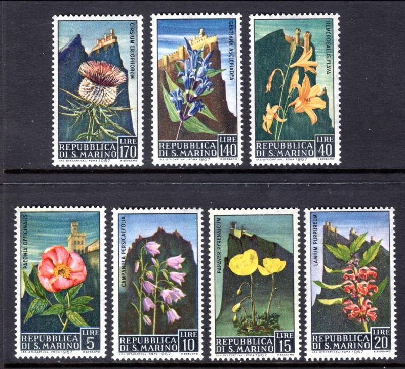 San Marino 654-660 Flowers MNH VF