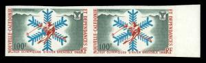 NEW CALEDONIA 1967 100fr WINTER OLYMPICS AIR POST IMPERF PAIR NH #C56 var. Ma...