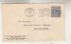 AUSTRALIA,1935 Bank NSW cover, KGV 3d. Blue, SYDNEY machine to USA.