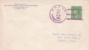 USS V-5 to Pueblo, CO, Jun 27, 1931 (N5008)