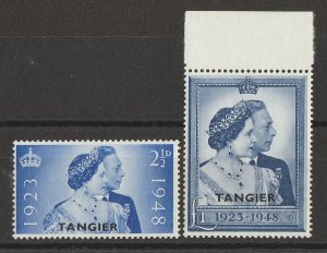 MOROCCO AGENCIES Tangier : 1948 KGVI Silver Wedding set 2½d & £1. MNH **.