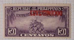 Philippines Warren W1337i 50c inverted ovpt Documentary only 3 sheet known DL