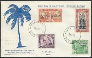 TOKELAU IS 1946 cover NUKUNONO / UNION ISLANDS cds, FDC Samoa Peace........11496