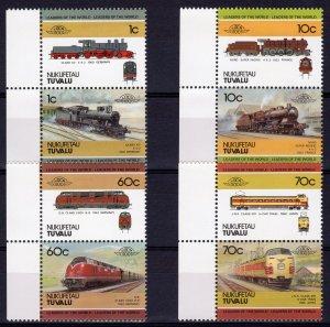Tuvalu-Nukufetau 1985 LOCOMOTIVES 1st.series (8) 4 pairs MNH