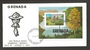 1975 Boy Scouts Grenada 14th World Jamboree Norway SS FDC