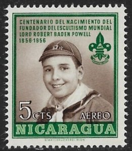 NICARAGUA 1957 5c LORD BADEN-POWELL BOY SCOUT Airmail Sc C379 MNH