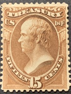 #O79 – 1873 15c brn, treasury, hard paper.  Mint LH.  Light Part Gum.
