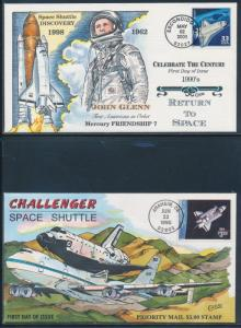 #2544, 3191h SPACE SHUTTLE ON 2 DIFF COLLINS FDC CACHETS CV $195 BU4422