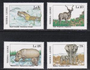 Sierra Leone #  915, 916, 918 & 921, African Wildlife, NH, 1/3 Cat.