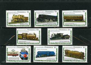 DOMINICA 1992 Sc#1504-1511 LOCOMOTIVES/TRAINS SET OF 8 STAMPS MNH