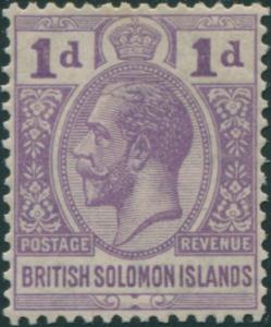Solomon Islands 1922 SG41 1d dull violet KGV MLH