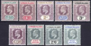 Leeward Is 1902 1/2d-5s EVII KeyPlt SG 20-28 Scott 20-28 LMM/MLH Cat £120($162)