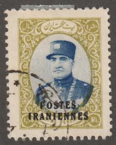 Persian/Iran stamp, Scott# 806, used, 1.50r, citron & blue, overprinted, aps 806