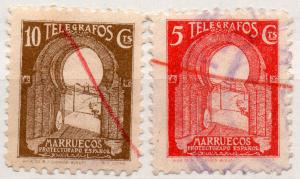 (I.B) Spain Colonial Telegraphs : Spanish Morocco 5c + 10c