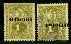 PARAGUAY 1902 OFFICIAL 1p olive green Sc# O49+O49a mint (NG) and Used - INVERTED
