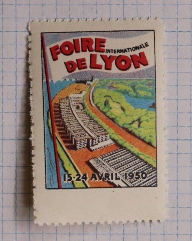 Lyon International expo Fair Foire 1950 France show industry Poster Stamp DL