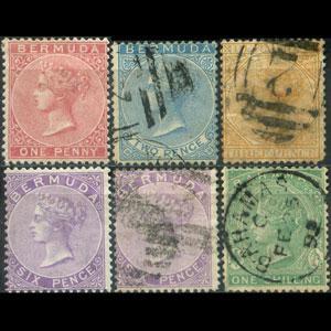 BERMUDA 1865 - Scott# 1-6 Queen Set of 6 Used