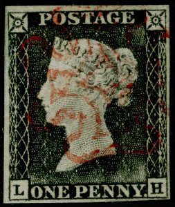 SG3, 1d grey-black PLATE 1a, FINE USED. Cat £525. RED MX. LH