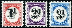 HERRICKSTAMP SOUTH WEST AFRICA Sc.# J91-93 1959 Fresh Postage Dues Mint NH