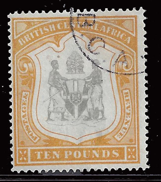 Nyasaland stamps 1897 shield ₤10 blk & yellow (SG52) VFU ₤2750 / $3575