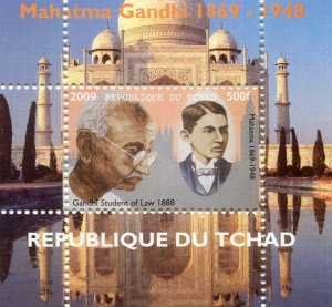 Chad 2009 GANDHI & NEHRU Deluxe s/s Perforated MInt (NH)