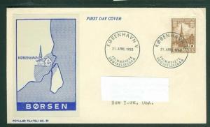 Denmark. FDC 1955 Cachet. Kingdom 100 Year 20 Ore. .Adr: USA